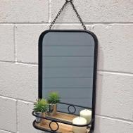 Small Industrial Wall Mirror Shelf Oscar Boutique