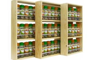 Solid Pine Spice Rack Shelves Kitchen Worktop Wall