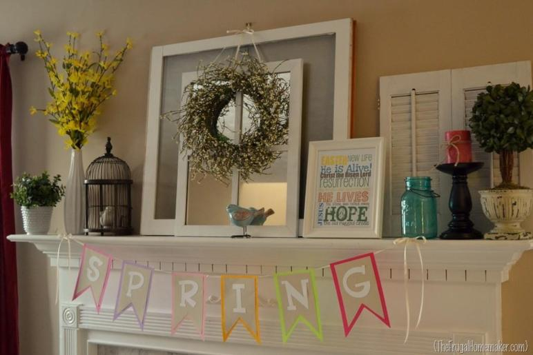Springy Mantel Decorated Yard Sale Finds