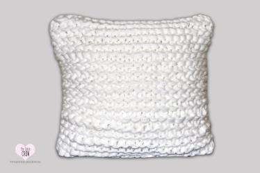 Square Elegant White Chunky Hand Knitted Pillow Cover