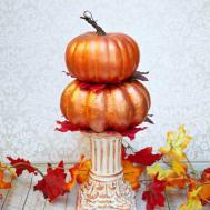 Stacked Metallic Pumpkins Centerpiece Fall