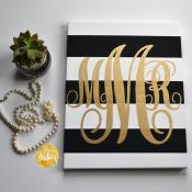 Striped Monogram Canvas Painting Black Gold Hand Painted