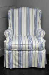 Striped Wingback Chair Slipcover Beachy Blue White