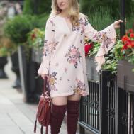 Summer Floral Dress Into Fall Fashion Blue