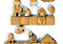 Super Mario Brothers Sprite Magnets Natural Birch Wood Set