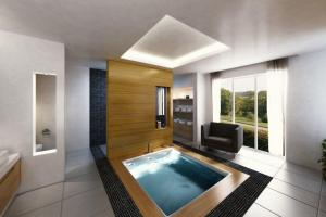 Terrific Spa Bathroom Designs Rectangle Modern Wooden