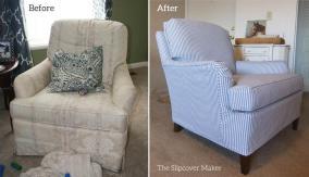 Ticking Stripe Slipcover Old Drexel Chair
