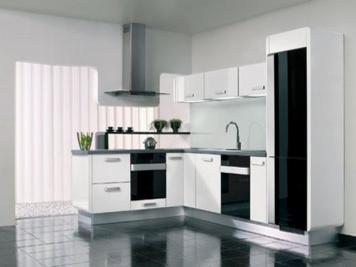 Tiny Corner Area Minimalist Kitchen Design Black