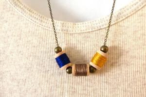 Tiny Thread Spool Necklace Jewelry Sewers