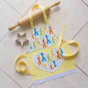 Toddlers Kids Apron Yellow Girls Kitchen Baking Craft Play