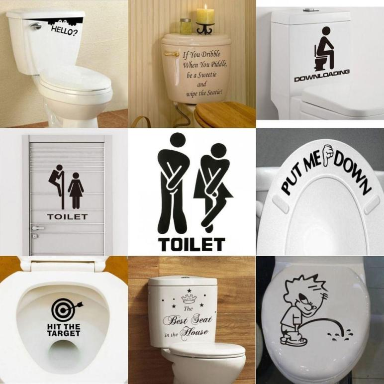 Toilet Seats Art Wall Stickers Quote Bathroom Decoration