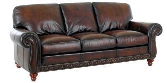 Traditional European Old World Leather Sofa Set Club