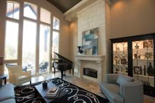 Transitional Living Room Decorated Piano