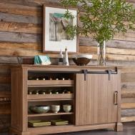 Transitional Rustic Sliding Barn Door Buffet Wine