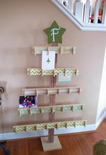 Tree Card Holder 4ft Rustic Christmas Wood