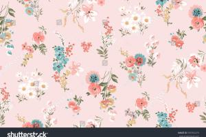 Trendy Seamless Floral Pattern Vector Stock