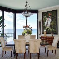Tropical Dining Room Limestone Tile Floors Carpet