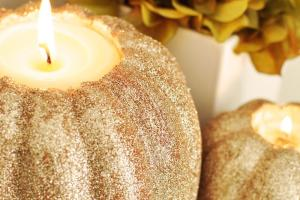 Twig Thistle Diy Pumpkin Candle Holders Bhg