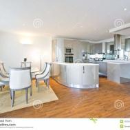 Ultra Modern Designer Kitchen Dining Area Stock