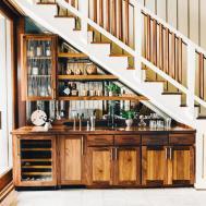 Under Stairs Kitchen Storage Smooth Black Granite