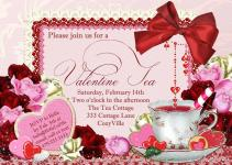 Valentine Tea Party Invitation Valentines Day