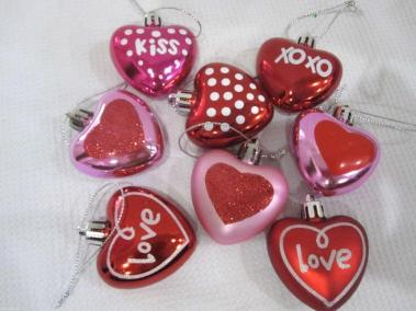 Valentines Day Pink Red Glitter Hearts Ornaments