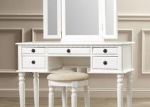 Vanity Set Mirror Stool Seat White Bedroom Makeup