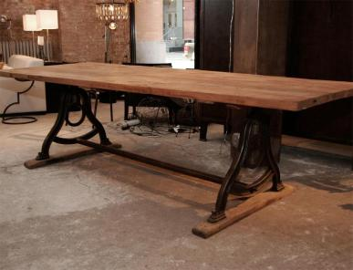 Vintage Dining Room Table Cast Iron Base Reclaimed Oak