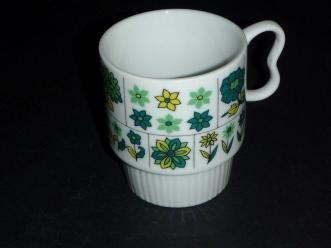 Vintage Japan Green Yellow Flowers Stackable Coffee