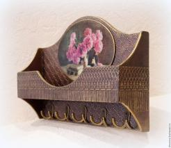 Vintage Key Holder Coat Rack Shelf Bouquet