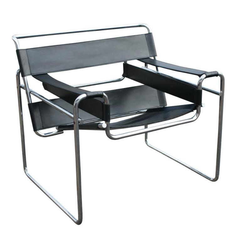 Vintage Knoll Wassily Marcel Breuer Black Leather Chair