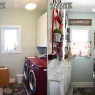 Vintage Red Aqua Small Laundry Room Design Ideas