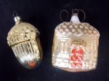 Vintage Two Christmas Glass Acorn House Bulb Ornaments