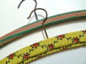 Vintage Wood Coat Hangers Pink Blue Crochet Covered