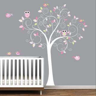 Vinyl Wall Decal Tree Polka Dot Leavesowlsbirds Nursery