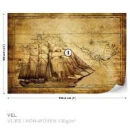 Wall Mural Xxl Vintage Ship Map 022ws