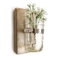 Wall Sconce Wood Vase Mason Jar Metallic Taupe