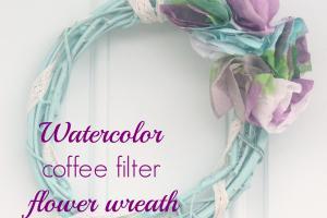 Watercolor Coffee Filter Flower Wreath Crafty Spot
