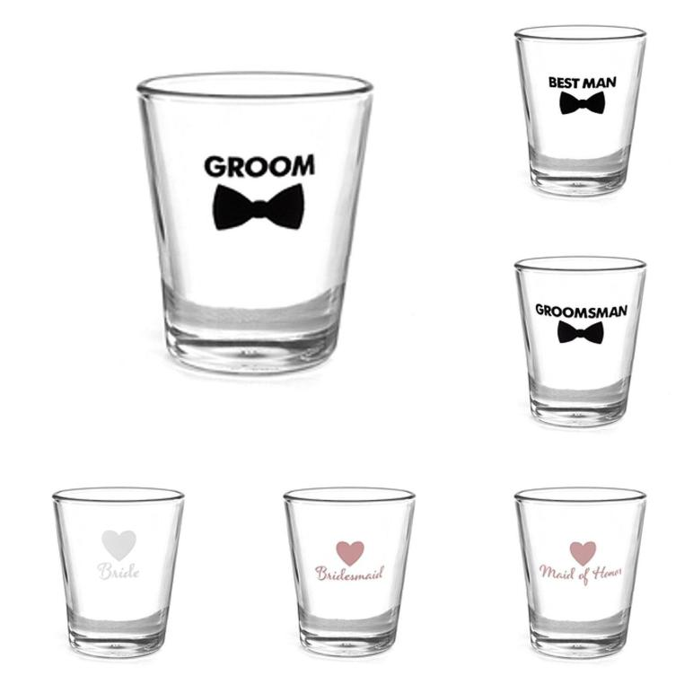 Wedding Shot Glass Bridal Party Favour Gift Decorations