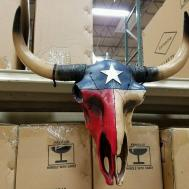 Western Resin Cow Skull Lonestar Texas Flag Design