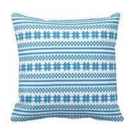 White Blue Nordic Christmas Sweater Pattern Throw Pillow