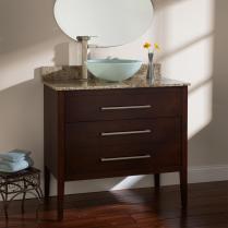 White Stained Teak Wood Bath Vanity Grey Marble Top
