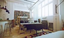 White Studio Apartments Home Library Interior Design Ideas
