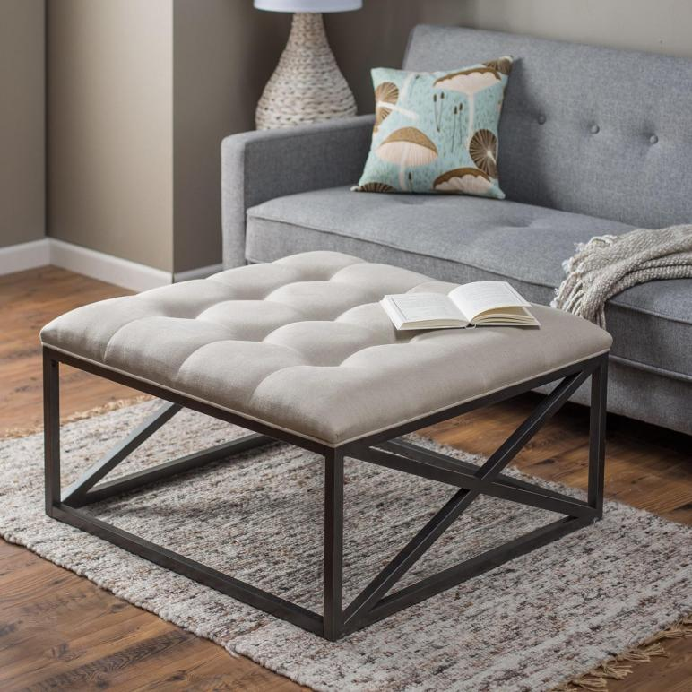 White Upholstered Diy Tufted Ottoman Coffe Table