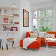 White Wall Interior Design Theme Orange