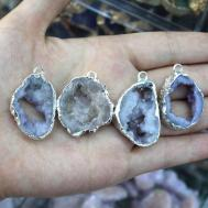 Wholesale Natural Small White Geode Pendant Unique
