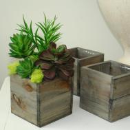 Wood Box Boxes Square Vase Succulents Wedding