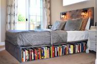 Wood Platform Bed Headboard Bookshelf Los Olivos
