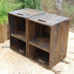 Wooden Crates Nightstand Pair Side Tables Reclaim Wood Decoratorist 192452