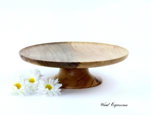 Wooden Pecan Pedestal Cake Stand Dessert Woodexpressions